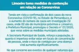 Prefeitura de Limoeiro promulga lei para contenção do coronavírus